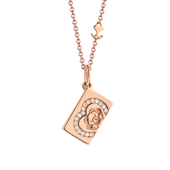 18K Pink Gold Heart Diamond Envelope Pendant