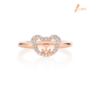 18K Pink Gold Diamond Bear Ring