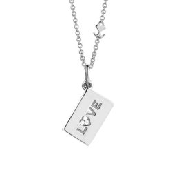 "18K White Gold ""Love"" Diamond Envelope Pendant"