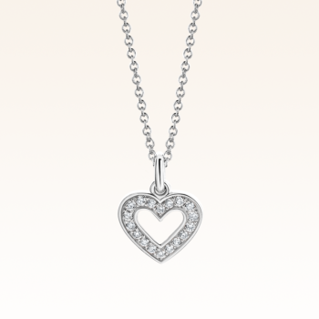 18K White Gold Heart Diamond Pendant