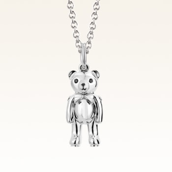 Silver Mini Beawelry Bear Diamond Pendant