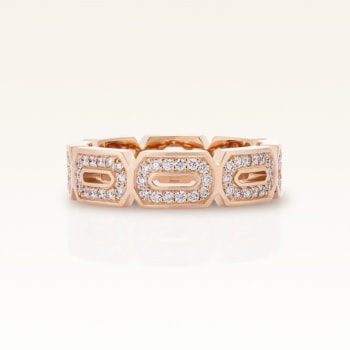 18K Pink Gold Diamond Hexagon Eternity Band  Ring