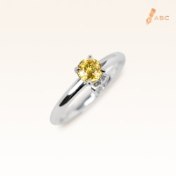 Silver Classic Beawelry Round Yellow Sapphire & White Topaz Ring