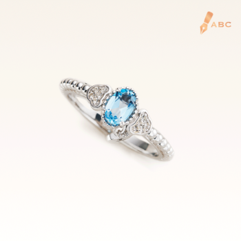 Silver Beawelry Ring with Blue & White Topaz