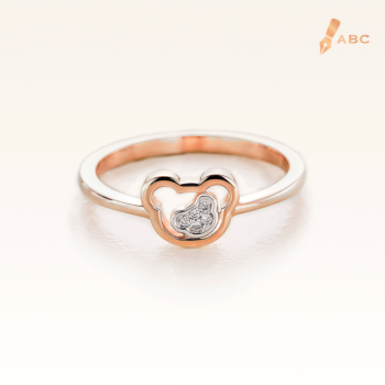 14K Pink Gold Double Bears Diamond Ring