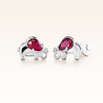 Silver Pear Shape Ruby Elephant Earrings