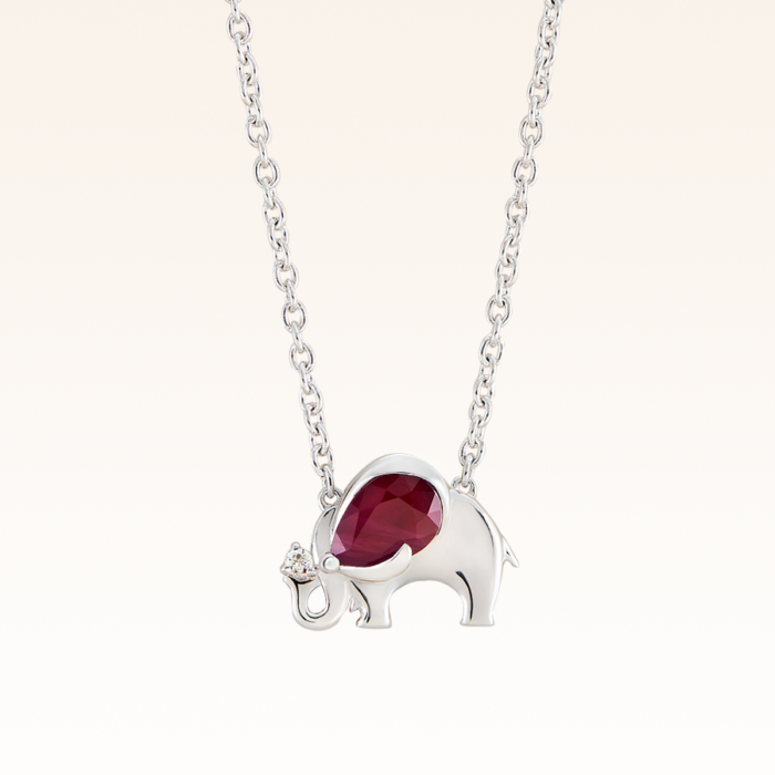 Silver Pear Shape 6x4 mm. Ruby Elephant Pendant