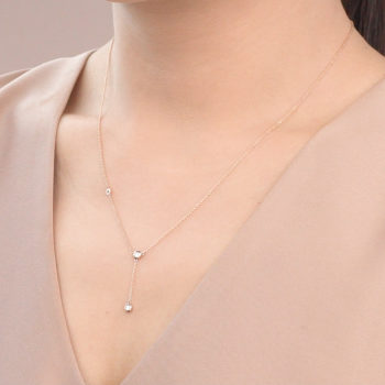 14K Pink Gold Y Necklace with Diamonds 0.10 carat