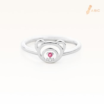 Silver July Birthstone Ruby Color CZ Beawelry Ring